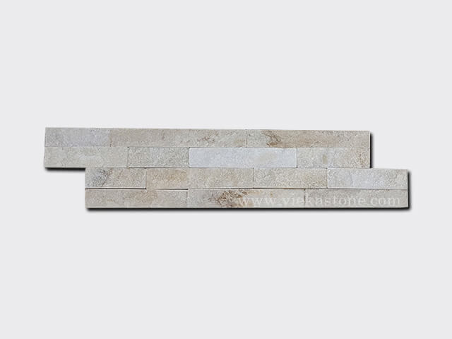 Cream White Quartz Stone Cladding Wall Panels z shape 1