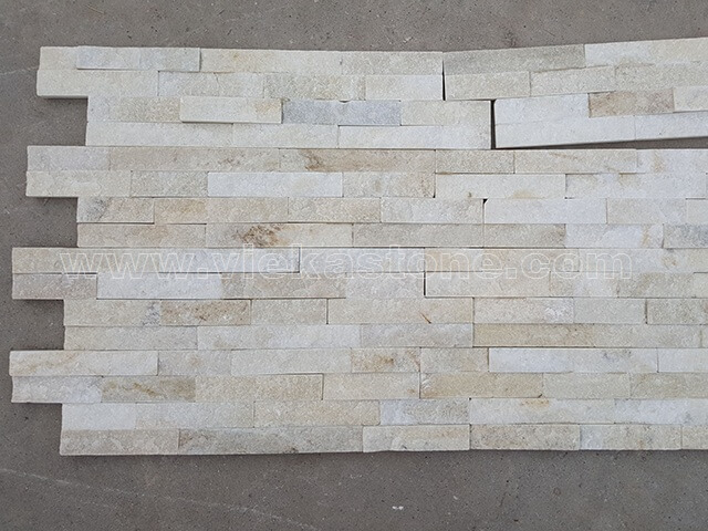 Cream White Quartz Stone Cladding Wall Panels z shape 4