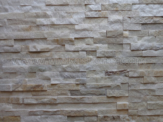 Cream White Quartz Stone Panels Wall Cladding Rectangle Shape 5