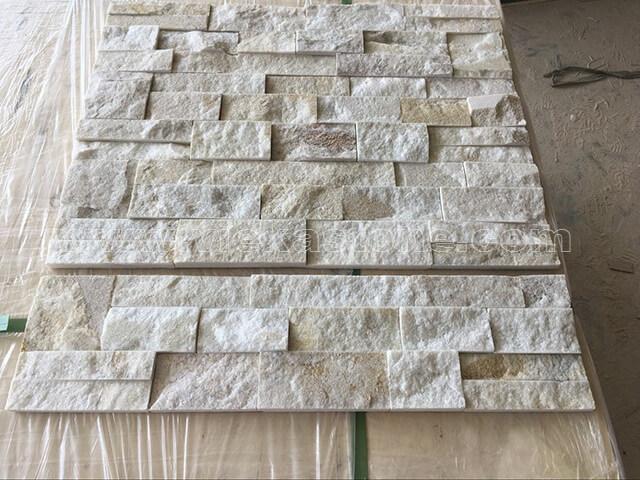 Cream White Quartz Stone Panels Wall Cladding Square Rectangle Shape 3