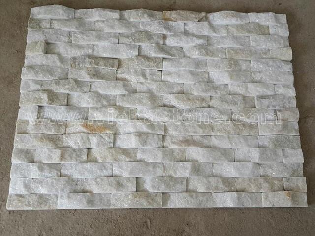 Cream White Quartz Stone Panels Wall Cladding Wave Rectangle Shape 2