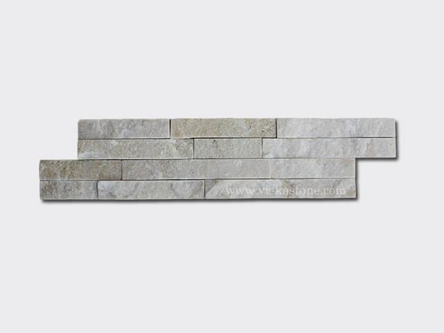 cream white quartz culture stone wall panels s shape 1