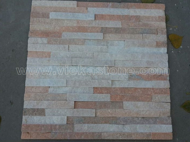 Crystal Pink Stone Panels Wall Cladding Rectangle Shape 3