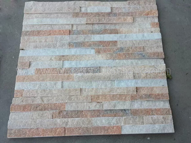 Crystal Pink Stone Panels Wall Cladding Rectangle Shape 4