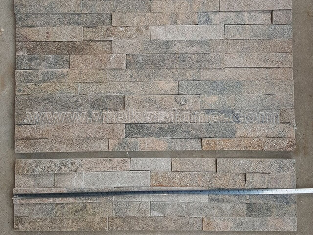 Grey Quartz Stone Panels Wall Cladding Rectangle Shape 2