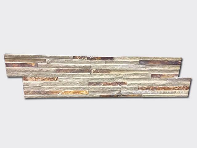 Grey Rusty slate stone cladding wall panels 10 line Z shape 1