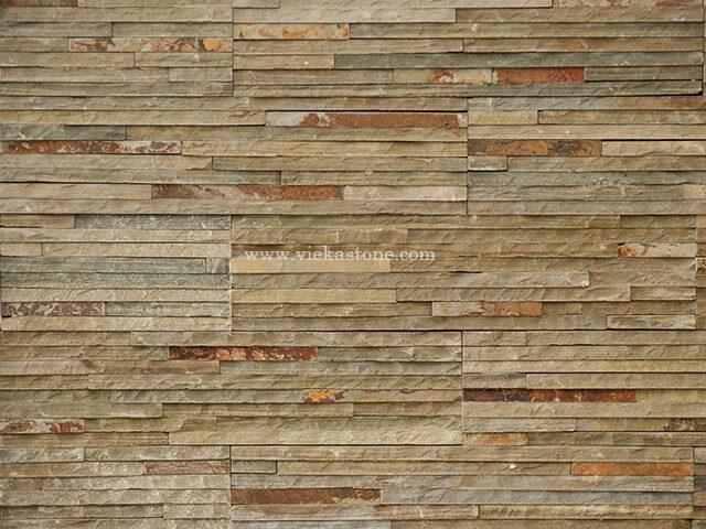 Grey Rusty slate stone cladding wall panels 10 line Z shape 2