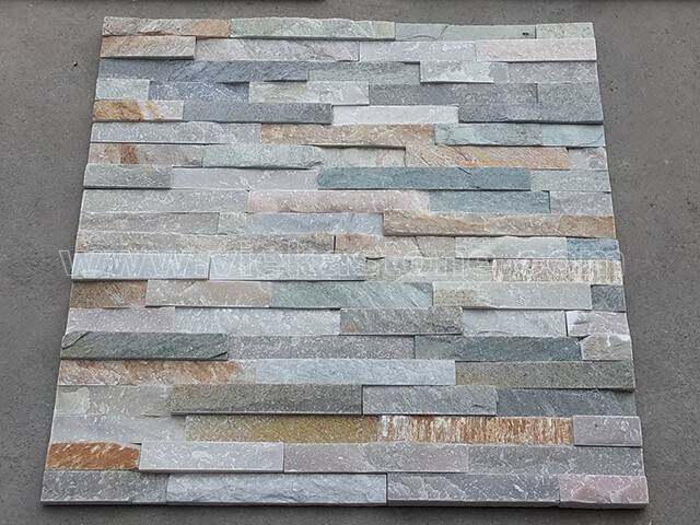 Mixed Yellow Slate Stone Panels Wall Cladding Rectangle Shape 3