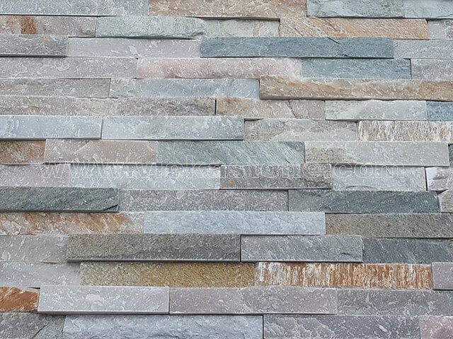 Mixed Yellow Slate Stone Panels Wall Cladding Rectangle Shape 4