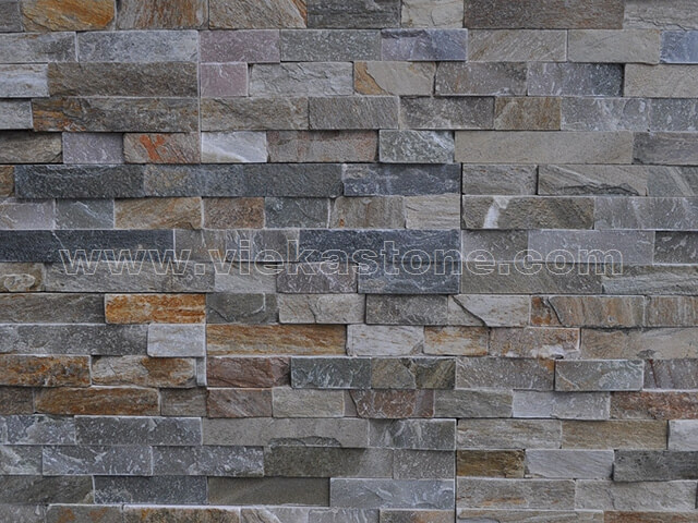 Mixed Yellow Slate Stone Panels Wall Cladding Rectangle Shape 5