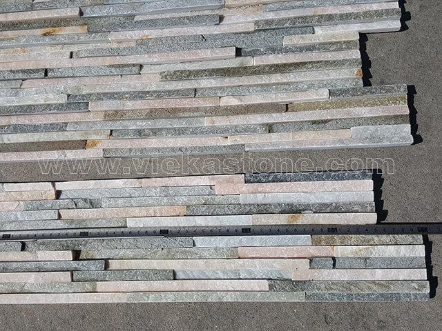 Mixed Yellow Slate stone cladding wall panels waterfall Z shape 3