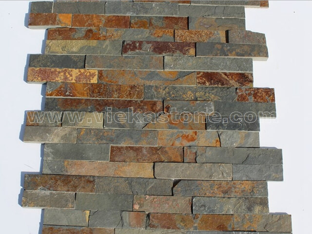 Multicolor Slate Stone Cladding Wall Panels z shape 4