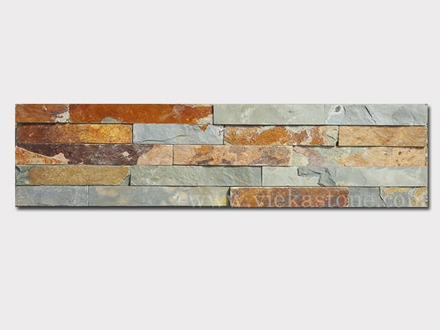 Multicolor Slate Stone Panels Wall Cladding Rectangle Shape 1