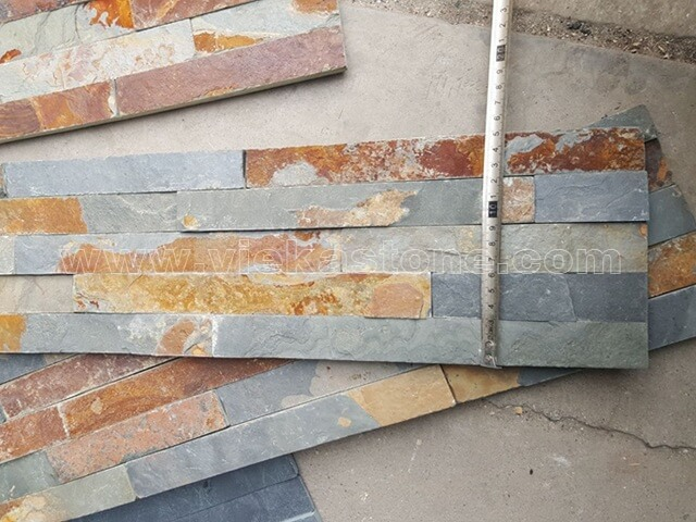 Multicolor Slate Stone Panels Wall Cladding Rectangle Shape 3