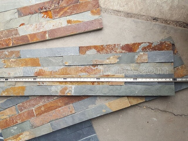 Multicolor Slate Stone Panels Wall Cladding Rectangle Shape 4