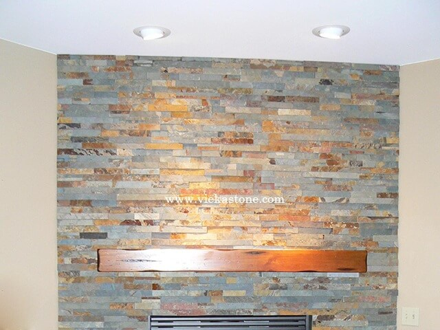 Multicolor Slate Stone Panels Wall Cladding Rectangle Shape 5
