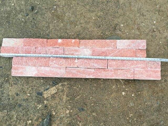 Peach Quartz Stone Cladding Wall Panels z shape 4