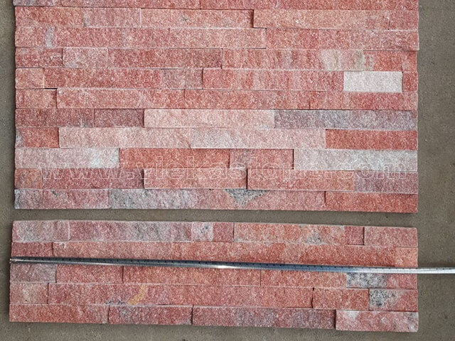 Peach Quartz Stone Panels Wall Cladding Rectangle Shape 2
