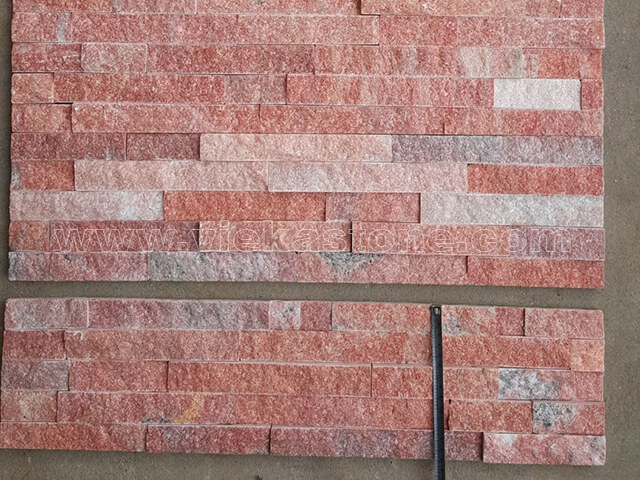 Peach Quartz Stone Panels Wall Cladding Rectangle Shape 3