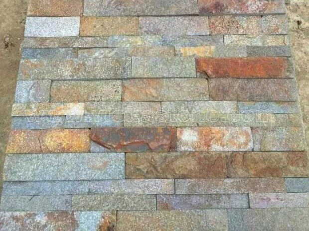 Red Rusty Quartz Stone Panels Wall Cladding Rectangle Shape 2