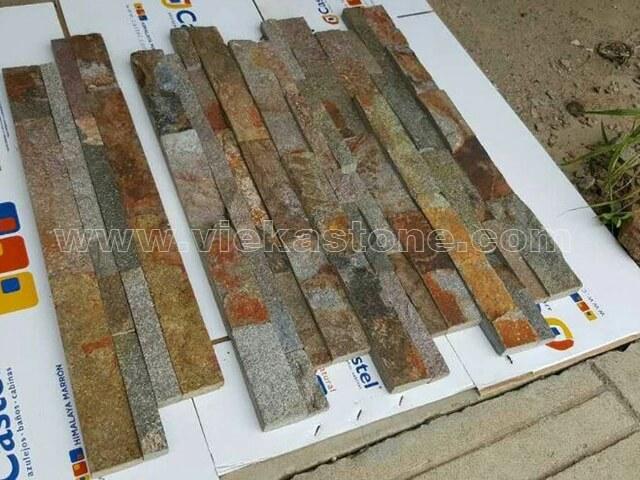 Red rusty quartz Stone Cladding Wall Panels z shape 3