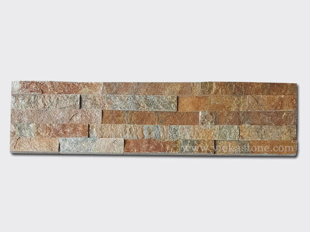 Rusty Quartz Stone Panels Wall Cladding Rectangle Shape 2