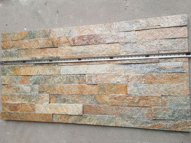 Rusty Quartz Stone Panels Wall Cladding Rectangle Shape 3