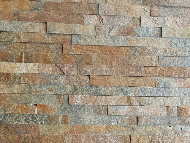 Rusty Quartz Stone Panels Wall Cladding Rectangle Shape 5