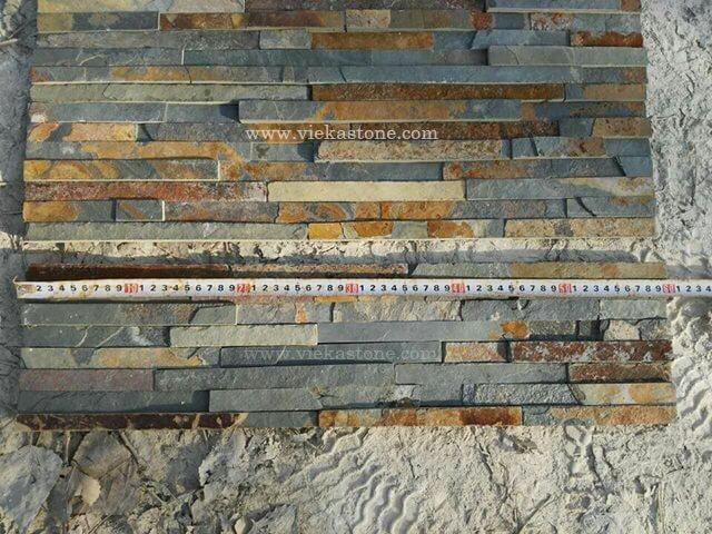 Rusty Slate Stone Panels Wall Cladding 8 line Rectangle Shape 3