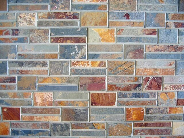 Rusty Slate Stone Panels Wall Cladding Bevelled Rectangle Shape 5