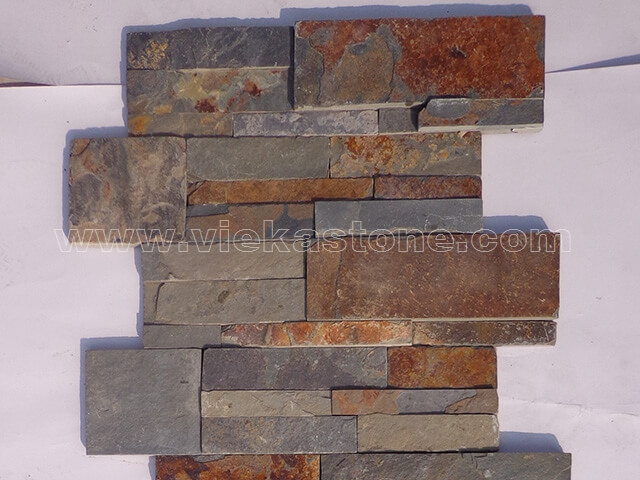 Rusty slate culture stone wall panel 35x18cm 3