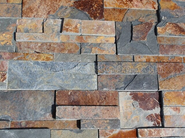 Rusty slate culture stone wall panel 35x18cm 5