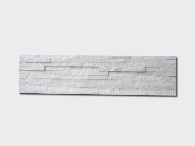 Snow White Quartz Stone Panels Wall Cladding 10 line Rectangle Shape 1