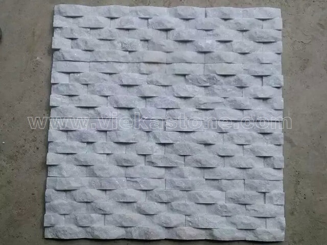 Snow White Quartz Stone Panels Wall Cladding Wave Rectangle Shape 2