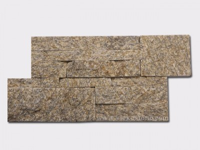 Tiger Skin Yellow Quartz culture stone wall panel 35x18cm 1