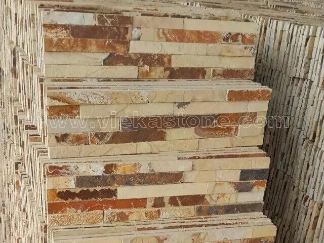 Yellow Clay Stone Panels Wall Cladding Rectangle Shape 3