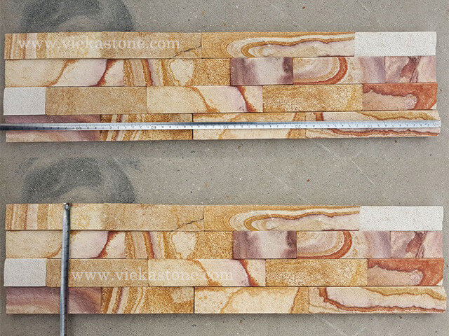 Yellow Sandstone Stone Panels Wall Cladding Cleft Rectangle Shape 2