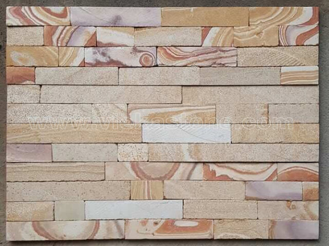 Yellow Sandstone Stone Panels Wall Cladding Cut Rectangle Shape 3