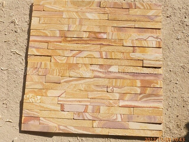 Yellow Sandstone Stone Panels Wall Cladding Cut Rectangle Shape 4