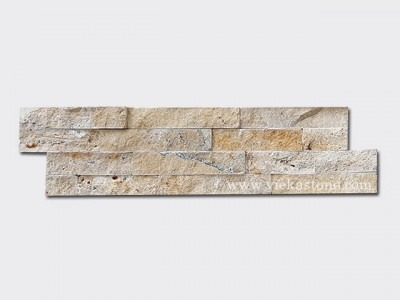 Yellow travertine stone cladding wall panels Z shape 1