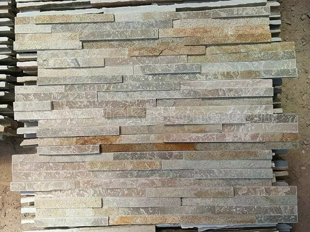 beige slate stone cladding wall panels 8 line Z shape 2