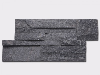 black quartz culture stone wall panel 35x18cm 1