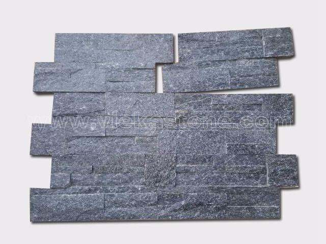 black quartz culture stone wall panel 35x18cm 3