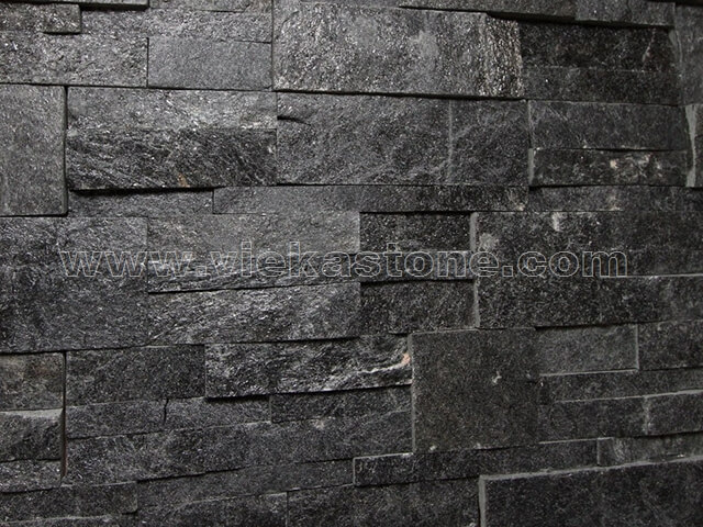 black quartz culture stone wall panel 35x18cm 4