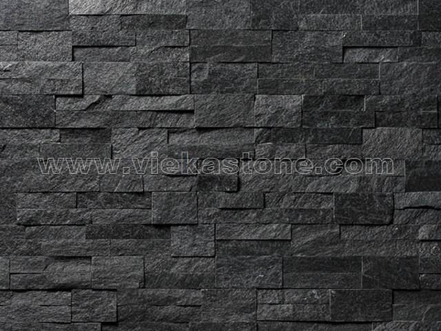 black quartz culture stone wall panel 35x18cm 5