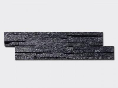 Black quartz stone cladding wall panels 8 line Z shape