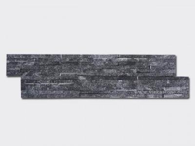 black quartz stone cladding wall panels waterfall Z shape 1