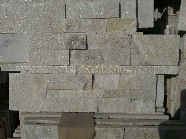cream white quartz culture stone wall panels 35x18cm 4
