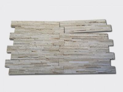 cream white quartz stone cladding wall panels waterfall Z shape