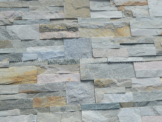 mixed yellow slate culture stone wall panel 35x18cm 3